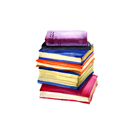 Watercolor old books illustration on white background