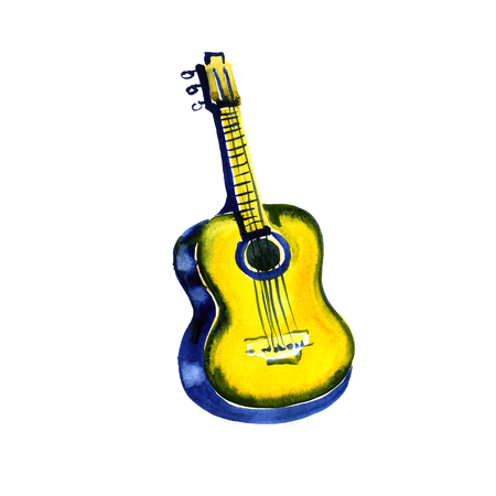 watercolor sketch: a guitar on a white background