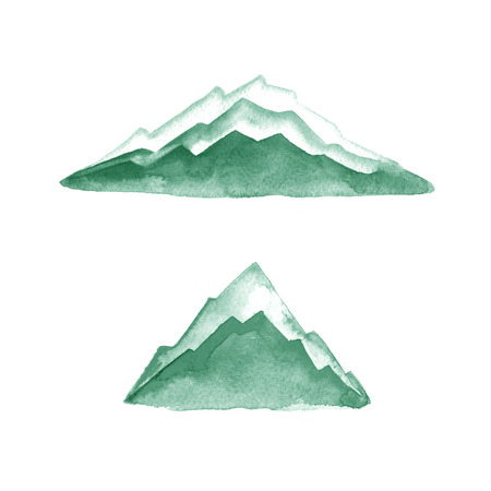 alps: Mountains. Watercolor painting. Logo element. Illustration. Green. Stock Photo