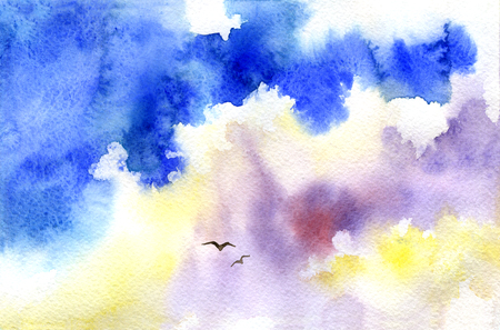 Watercolor sky and swallows. Watercolor background. Hand painting. Illustration for greeting cards, invitations, and other printing projects. Stock Photo
