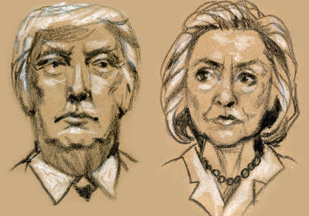 donald: Presidential Candidates Donald Trump vs Hillary Clinton. Stock Photo