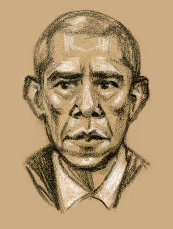 obama: Graphic illustration of a portrait of President Barack Obama
