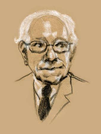 bernard: Graphic illustration portrait of Bernard Bernie Sanders