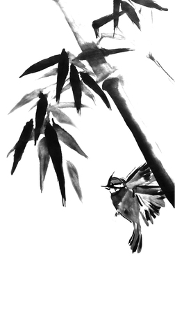 Card with bamboo and bird on white background in sumi-e style. Hand-drawn with ink. Illustration. Traditional Japanese painting