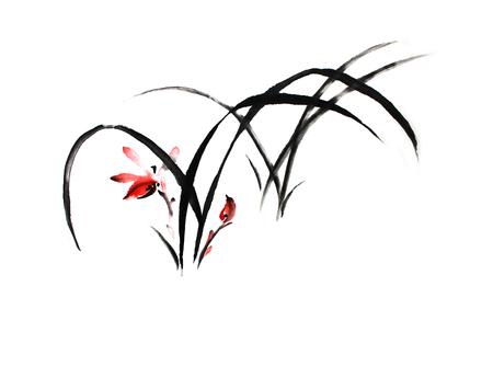 Chinees schilderij van orchideebloem op witte achtergrond.