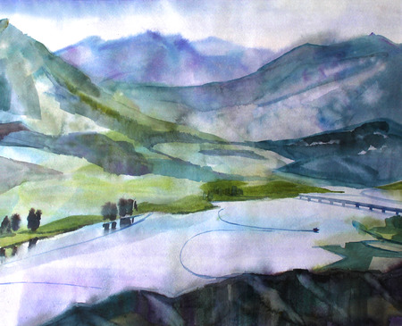 Watercolor landscape. Summer sunny day. Meandering river in the green meadows of the valley Stock Photo
