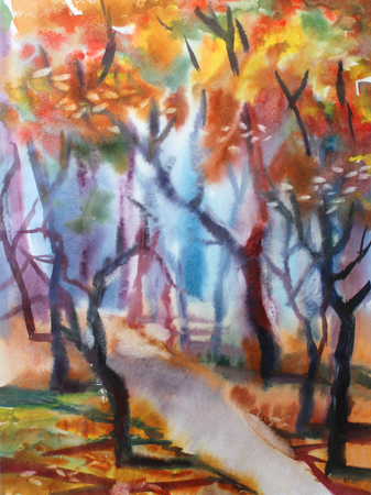 morning walk: The watercolor landscape showing pleasure of light of the morning sun