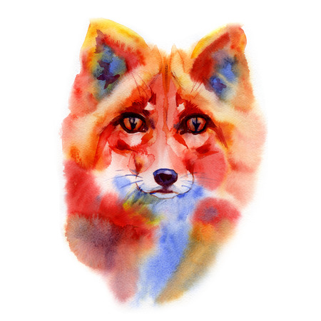 Watercolor Wild Animal Red Fox Hand Drawn Portrait Illustration isolated on white background