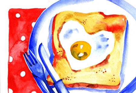 bacon love: Breakfast painted watercolor toast with scrambled eggs Stock Photo