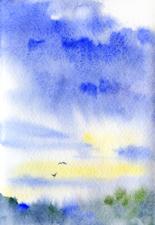 watercolor textured landscape with sky, clouds, trees, birds