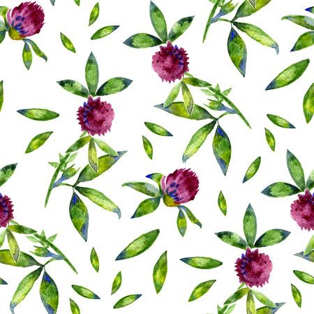 trifolium: Watercolor Trifolium clover flower texture seamlees pattern