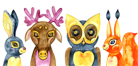 Set of cute forest animals. Watercolor illustration.