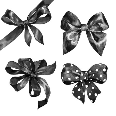 black bow: Watercolor satin black bow set on white background