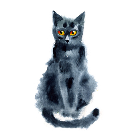 black and blue: Black Blue Cat. Watercolor Painting. Hand-drawing Illustration.