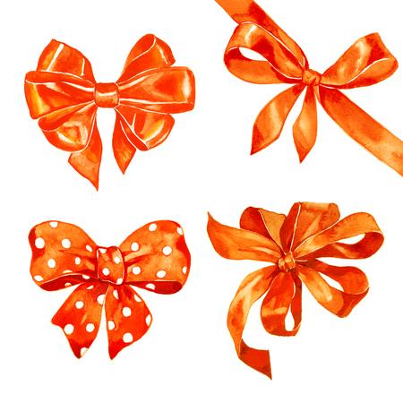 Watercolor satin orange red bow set on white background Stock Photo