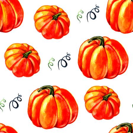 Halloween pumpkins seamless pattern. Watercolor hand drawing.