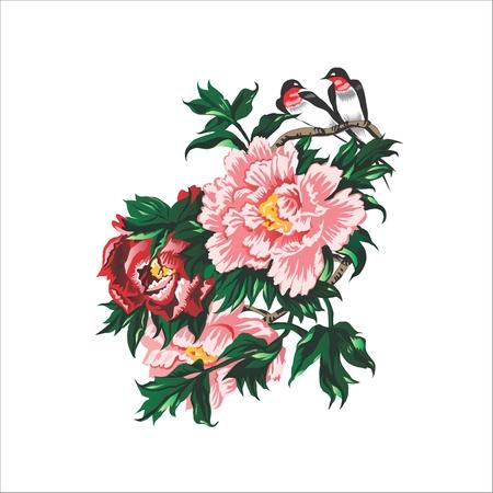 orientalischen Stil, Vögel und Rosen. Chinesische Malerei. Vektor-Illustration