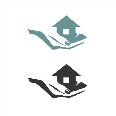 Icona Home. Il simbolo della società per la riparazione costruzione e la manutenzione della casa. Illustrazione vettoriale. L'immagine delle mani e il tetto della casa.