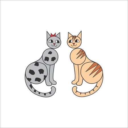 cat s: Cats love story. grey and red. vector illustration