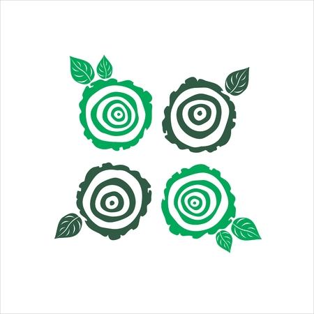 vector growth rings tree trunk symbols. slice of tree trunk