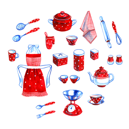 colander: Cute hand drawn watercolor kitchen objects collection Stock Photo