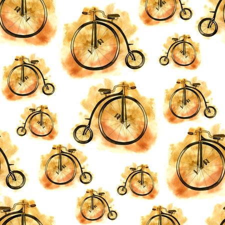 Hand getekende aquarel fiets naadloze patternb met oude fiets.