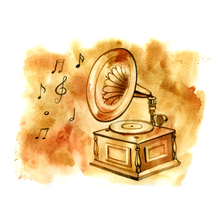 brake fern: Watercolor gramophone. Musical vintage hand drawn illustration with notes. Stock Photo