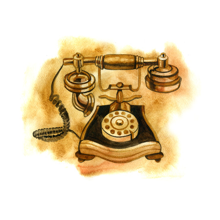 vintage phone: Retro graphic watercolor splash old vintage phone