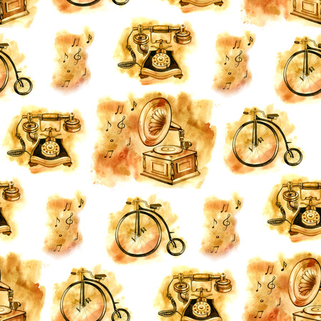 antiques: Watercolor seamless pattern of old things: gramophone, bicycle, phone. Antiques.