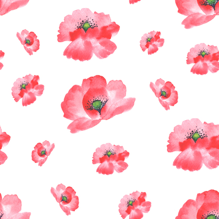 poppies: Seamless watercolor hand painted background, pattern. Isolated red poppies.