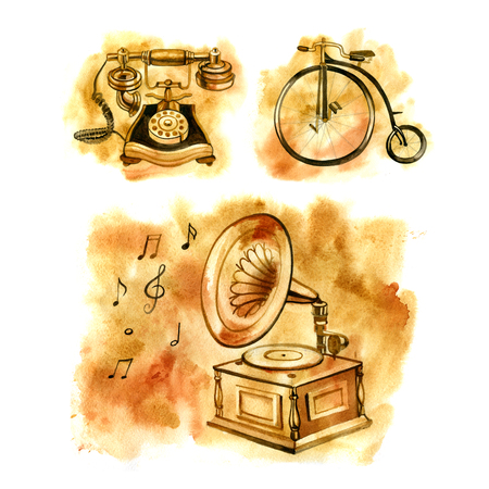antiques: Watercolor illustration of old things. The gramophone, the Bicycle and the phone. Antiques. Stock Photo