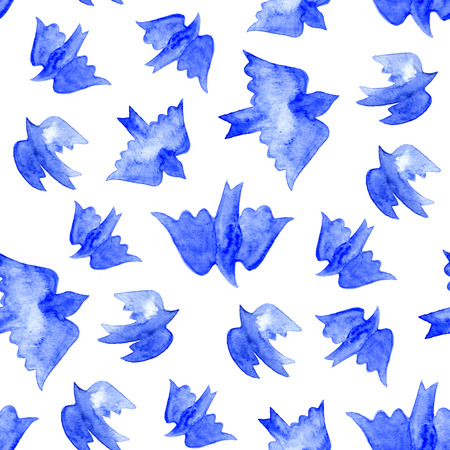 water bird: Watercolor blue birds seamless pattern on white background.