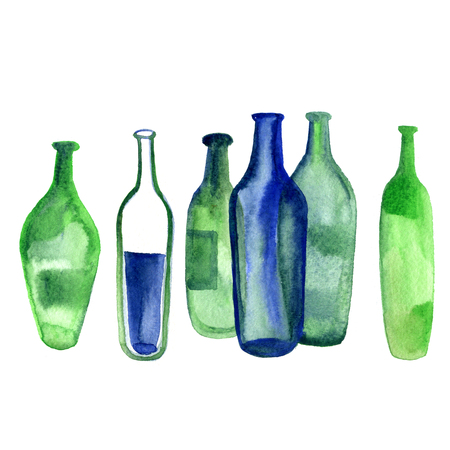 Watercolor Wine Alcohol green bottle isolated on white background. Stock Photo