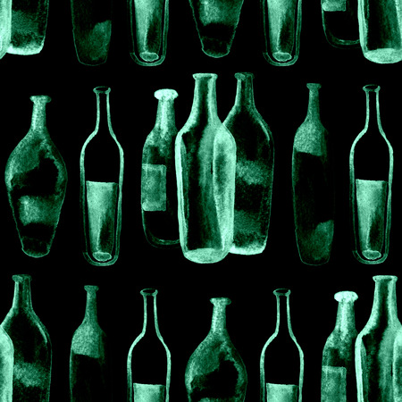 atmosphere: watercolor seamless background. Green wine bottles and glasses.
