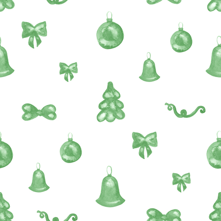 illustrated: Seamless hand illustrated ornaments pattern on paper texture. Christmas background.