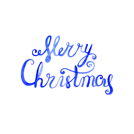picasso: Wet brush watercolor lettering that says Merry Christmas.