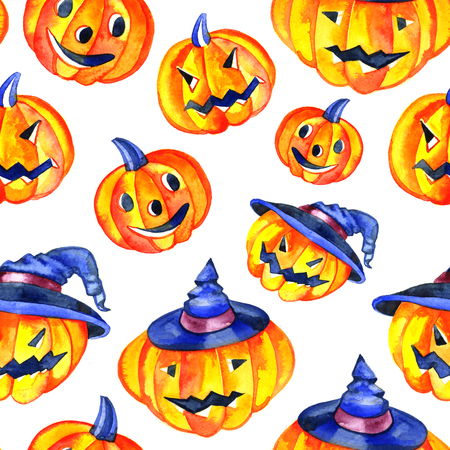 playfull: Watercolor pumpkins. Jack-o-lanterns with happy faces. seamless pattern. Stock Photo