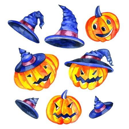 playfull: Watercolor pumpkins. Jack-o-lanterns with happy faces. Stock Photo