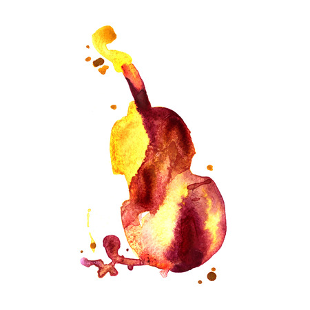 contrabass: watercolor hand drawn of classical music instrument contrabass Stock Photo