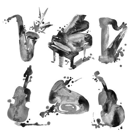 acordeon: Conjunto de acuarela instrumentos musicales en el estilo de dibujo. Foto de archivo