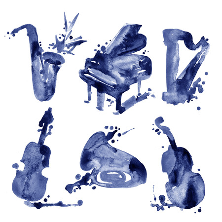Set of watercolor musical instruments in sketch style. Stock Photo