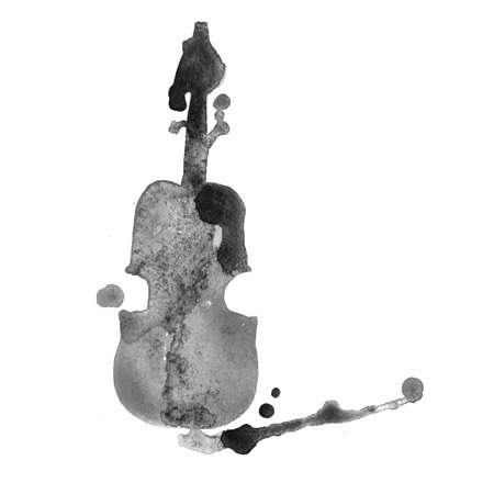 cellos: Violin detailed sketch, colored violin on paint splash background. Isolated on white background