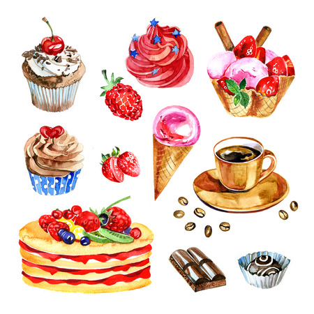 set of watercolor desserts, chocolate, coffee, cupcake, hand drawn illustration