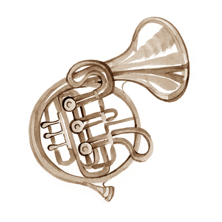 french horn: Watercolor copper brass band French horn on white background