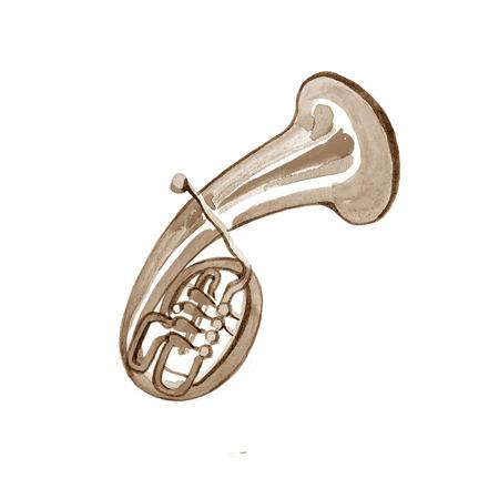 Watercolor copper brass band alto on white background Stock Photo