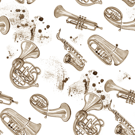 copper: Watercolor copper brass band music pattern on white background