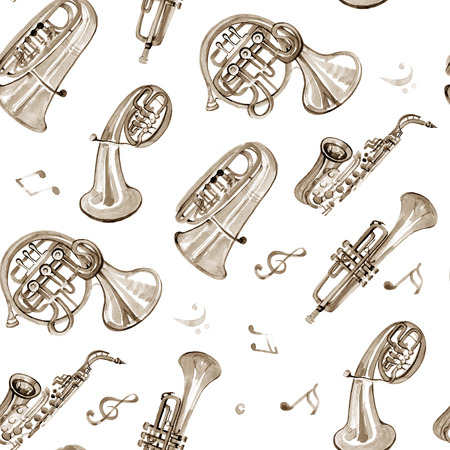 music pattern: Watercolor copper brass band music pattern on white background
