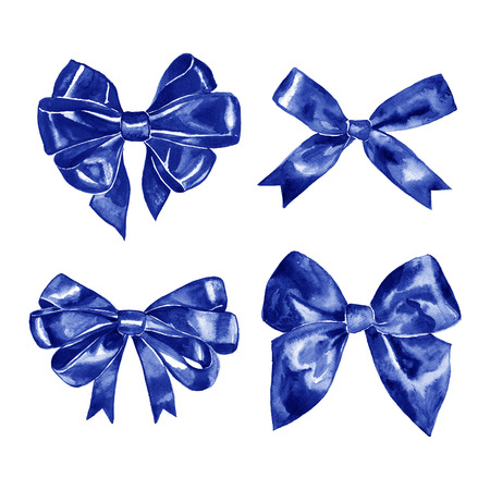 Blue gift bow. Watercolor drawing. illustration on white background Stock Photo