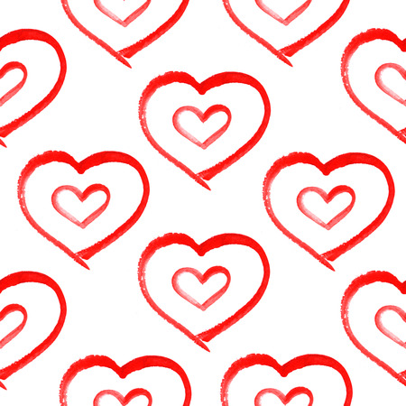 occasions: seamless pattern with hand painted watercolor hearts on white background. Perfect for romantic occasions such as Valentines day.