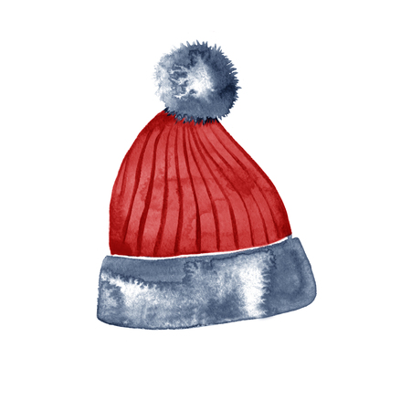 xmax: Hand drawn watercolor red winter hat on white background.